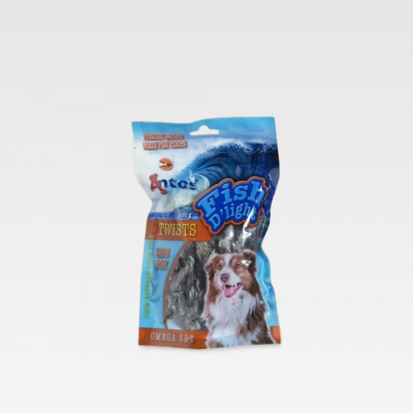 100% fish skin for dogs Fish D'Light Twists